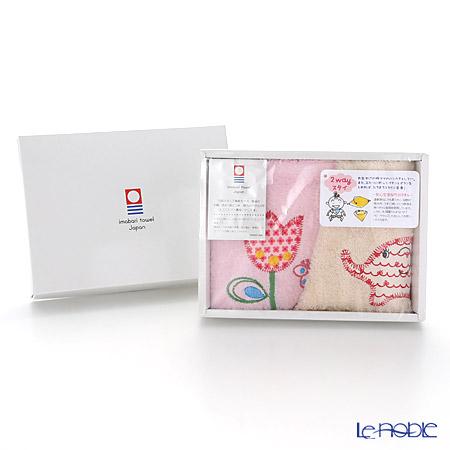 今治タオル 2wayスタイ ゾウ&お花アイボリー&ピンク 2枚組 24×24cm