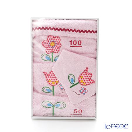 今治タオル 2wayスタイ&身長が測れるバスタオル セット お花 ピンク 綿100%