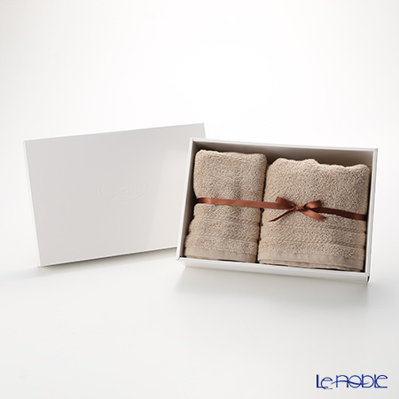 Micro Cotton Regular Set of Mini Bath Towel & Face Towel, mocha with gift box