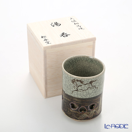 Obori Soma Ware 'Hidari Uma (Horse) / Double Wall' Tea Cup (with wooden box)