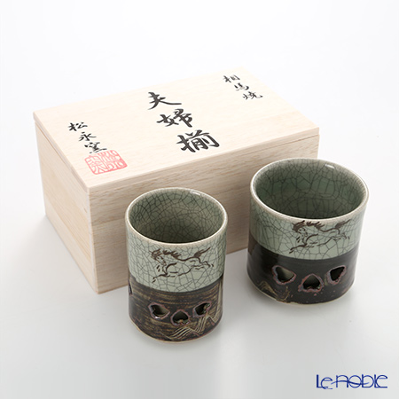 Obori Soma Pottery Double wall teacup set, Small / Large with wooden box
