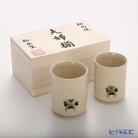 Obori Soma Pottery Double wall tea cup, set of 2, clover with wooden box
