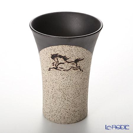 Obori Soma Pottery Beer Tumbler, horse, black, S