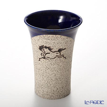 Obori Soma Pottery Beer Tumbler, horse, cobalt, S