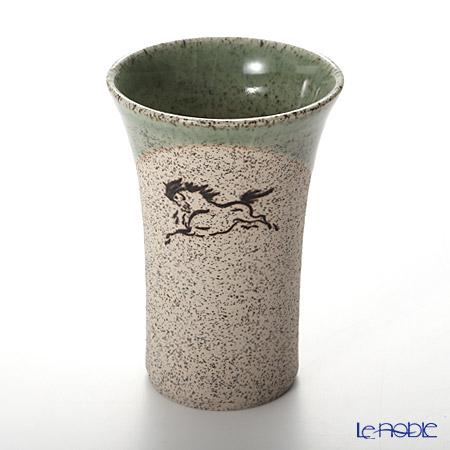 Obori Soma Pottery Beer Tumbler, horse, green, S