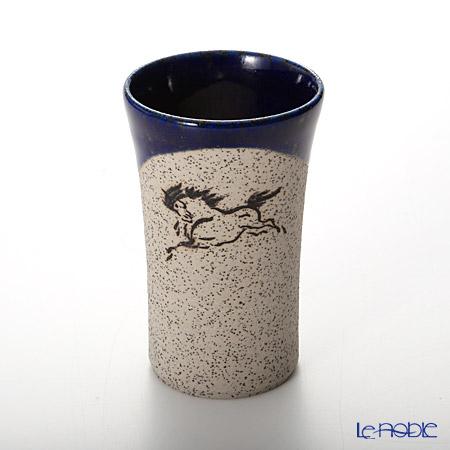 Obori Soma Ware 'Hidari Uma (Horse)' Cobalt Blue Beer Tumbler (S)