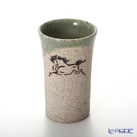 Obori Soma Ware 'Hidari Uma (Horse)' Green Beer Tumbler (S)