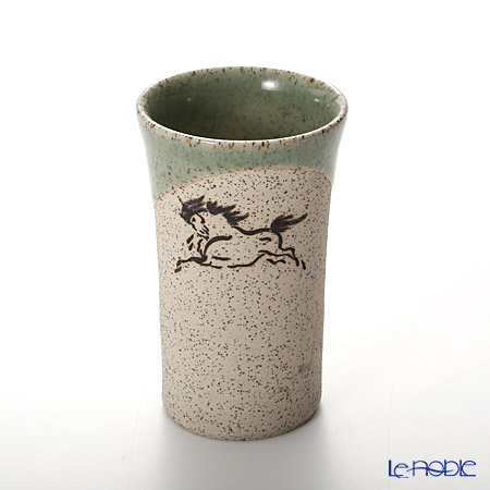 Obori Soma Pottery Beer Tumbler, horse, green, XS