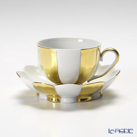 アウガルテン(AUGARTEN) メロン ゴールド&ホワイト(7020G)モカカップ&ソーサー 0.05L(015)
