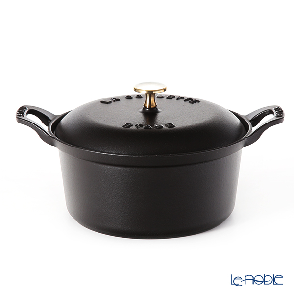 Staub 'Vintage' Black [Cast Iron] Round Cocotte 20cm 2450ml