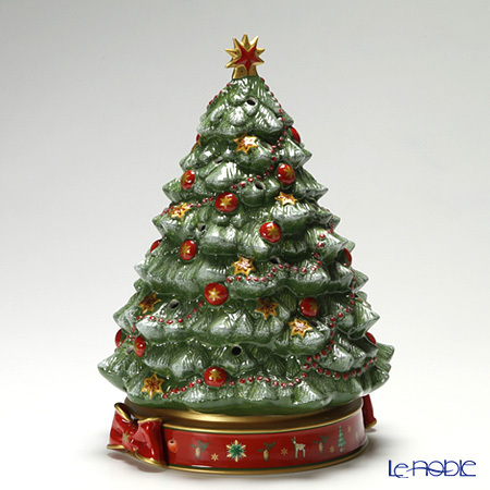 Villeroy & Boch 'Toy's Delight - Tree' 8585-6885 [Limited 2011] Tea Light Candle Holder with Music Box (Music : Oh Christmas Tree) H32cm