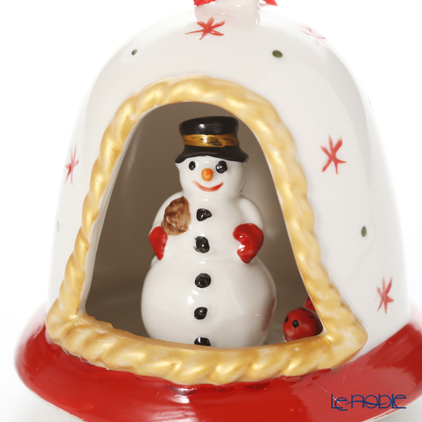 Villeroy & Boch 'My Christmas Tree - Snowman' Red 6898 Bell Ornament H8cm