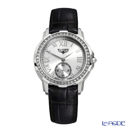 Elysee Melissa - Ladies Watch Quartz, Swarovski gems, Black leather strap, Stainless steel case 22003