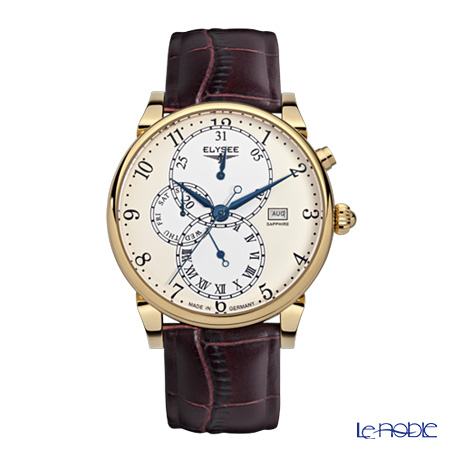 Elysee Daidalos - Men's Watch Quartz, Multifunction (Day, Date, Month), Cream dial, Gold plated case 80515