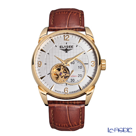 Elysee Perdix - Men's Watch Automatic, Open heart, Gold plated case, 89003 G