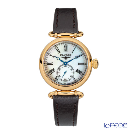 Elysee Cecilia - Ladies Watch Quarz, Pearly white dial, Gold plated case 38023