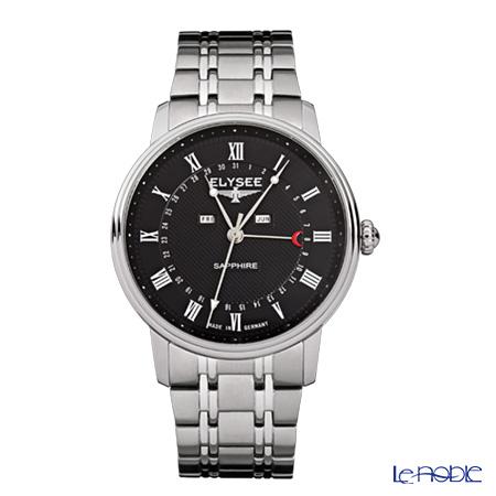Elysee Monumentum Calendar - Men's Watch Quartz, Multifunction (Day, Date, Month), Black dial, Stainless steel 77001