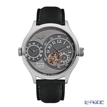 Elysee KÖ 2 - Men's Watch Automatic, GMT function, Open heart, Black leather 80526