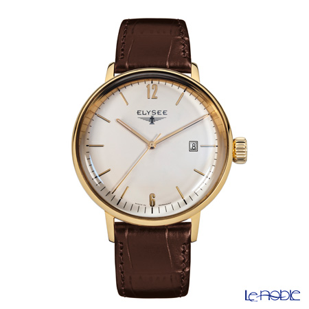 Elysee Sithon Lady - Ladies Watch Quartz, Date function, Gold plated case, Leather strap 13286