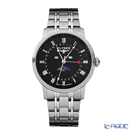 Elysee Monumentum Moon - Men's Watch Quartz, Multifunction (Day, Date, Month, Moonphase), Black dial, Stainless steel 77003