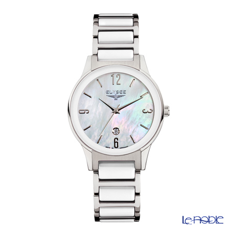 Elysee Kim - Ladies Watch Quartz, Mother of Pearl Dial, Stainless steel & ceramic case and band 30020