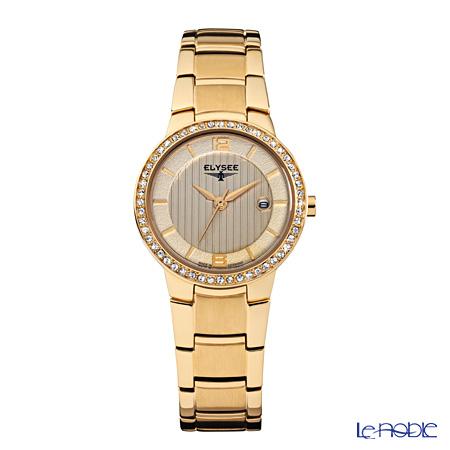 Elysee Nora - Ladies Watch Quartz, 52 Swarovski crystals, Gold plated case & band, 33046