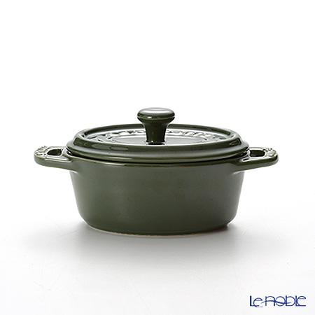 ストウブ(staub) ミニオーバル ココット(セラミック製) 11cm/0.2L バジルグリーン