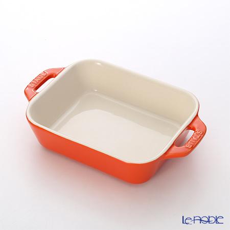 ストウブ(staub) レクタンギュラーディッシュ(セラミック製) 14×11cm/0.4L オレンジ
