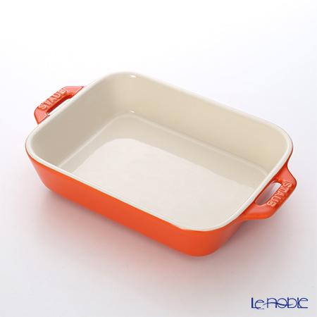 ストウブ(staub) レクタンギュラーディッシュ(セラミック製) 20×16cm/1.1L オレンジ