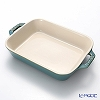 Staub (staub) rectangular dish (ceramic) 20 cm vintage Color Turquoise.