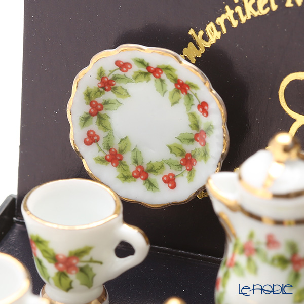Reutter Porzellan 'Christmas Ornament (Holly)' 001.336/6 Miniature Coffee set
