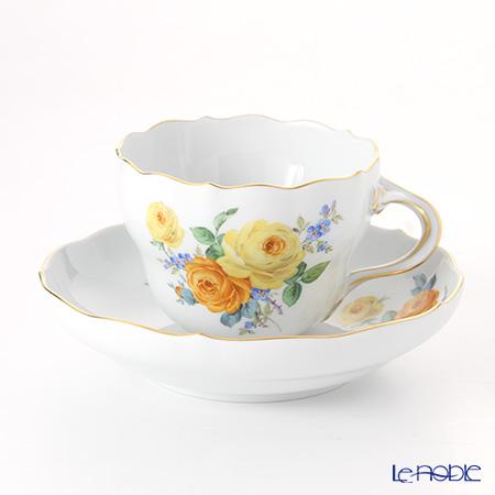 マイセン(Meissen) 黄色のバラ(ブーケ)と忘れな草 139210/00582 コーヒーカップ&ソーサー 200cc