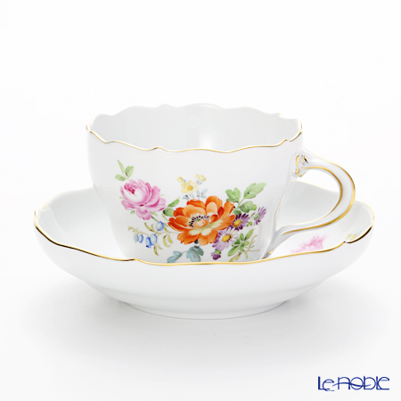 Meissen (Meissen) flower bouquet 220110 / 00582 Coffee Cup & Saucer (200 cc)