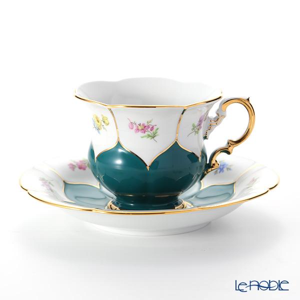 マイセン(Meissen) 宮廷の小花 014098/16582 コーヒーカップ&ソーサー 200cc(緑金彩)