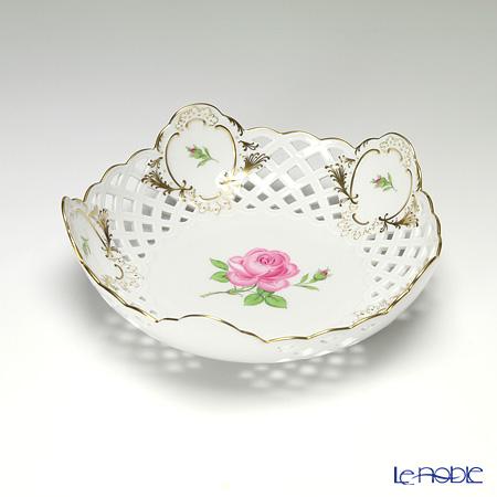 マイセン(Meissen) ピンクのバラ 020192/54880 メッシュ飾り皿 18cm
