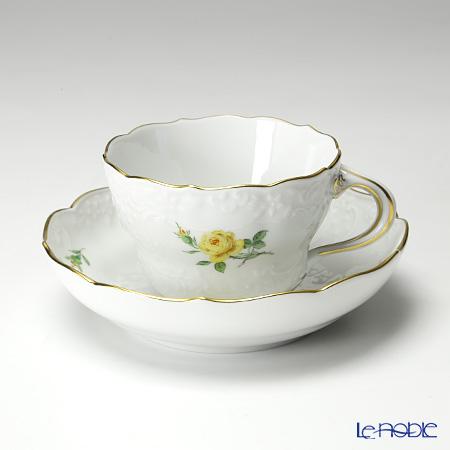 マイセン(Meissen) 黄色のバラ 020610/03582コーヒーカップ&ソーサー 200cc マルセイユレリーフ