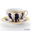 Meissen 'Strewn Flowers' Royal Blue / Gold (X-Form) 011079/17582 Coffee Cup & Saucer 200ml