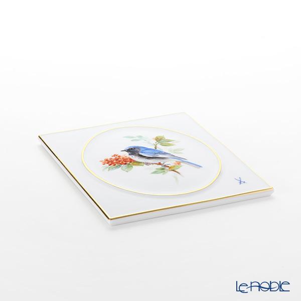 マイセン(Meissen) 陶板 263010/53n32鳥(ノドグロルリアメリカムシクイ) 18cm(額無)