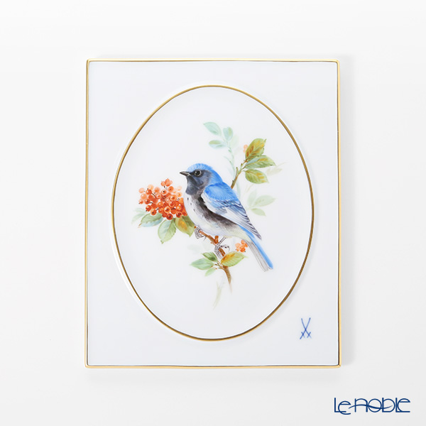 マイセン(Meissen) 陶板 263010/53n32 鳥(ノドグロルリアメリカムシクイ) 18cm(額無)