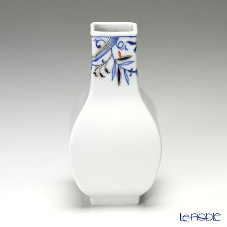 マイセン(Meissen) ブルーオニオン スタイル レッド&ゴールド 80a095/50097 花瓶(角型) 13cm