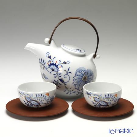 マイセン(Meissen) ブルーオニオン スタイル レッド&ゴールド 80a097/c2402 2人用 日本茶セット(ベットガーセッ器ソーサー 2客付)