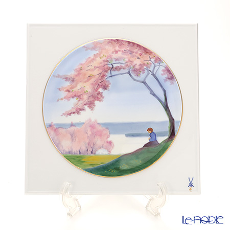 マイセン(Meissen) リミテッドエディション 933284/53n53 桜咲く川辺の少女 25.5×25.5cm