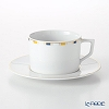 Meissen Stripes Coffee Cup & Saucer 180ml / 14.5cm, rim decoration, blue, yellow, gold, Goldrand, 79A213-41582