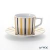Meissen 'Stripes' Blue & Yellow full 79A218/41579 Espresso Cup & Saucer 100ml