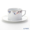 Meissen Noble Blue Coffee Cup & Saucer 180 ml, rim of onion elements, cobalt blue, red, gold, 802190-41582 (572/98A077-41562)