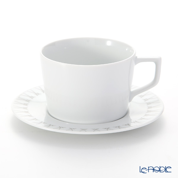 マイセン(Meissen) スウォード エレガントグレイ 79A224-41584 カプチーノカップ&ソーサー 200ml/14.5cm