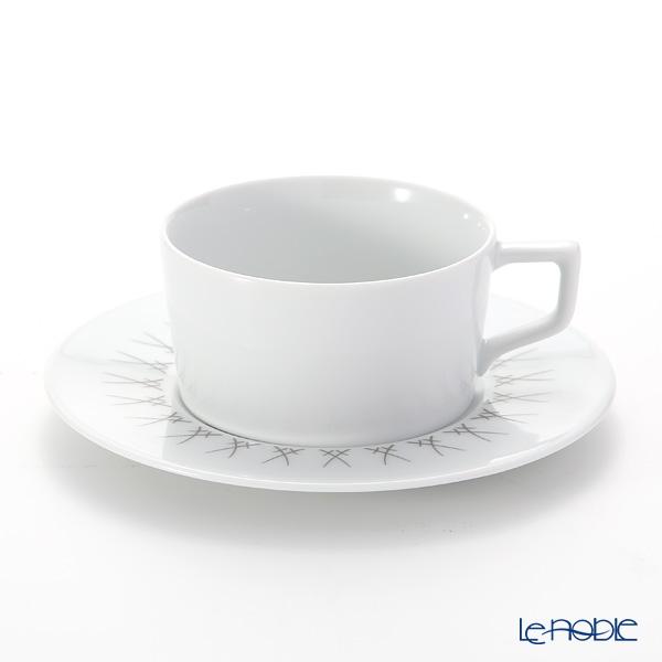 マイセン(Meissen) スウォード エレガントグレイ 79A225-41633 ティーカップ&ソーサー 150ml/14.5cm
