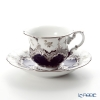 Meissen 'Strewn Rosess' Royal Blue Platinum (B-Form) 018677/15582 Coffee Cup & Saucer 200ml
