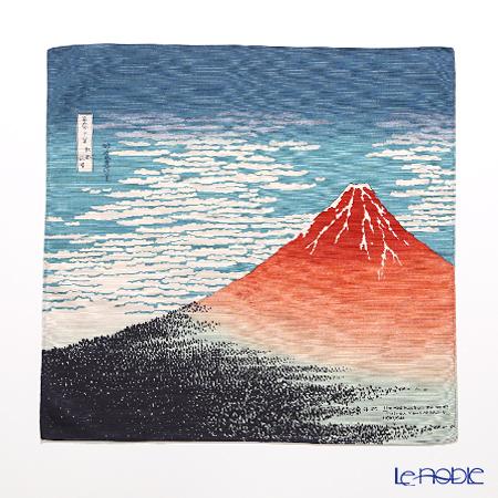 むす美 風呂敷 綿100% 日本製 20720-101チーフ隅田川 赤富士 コン 48cm