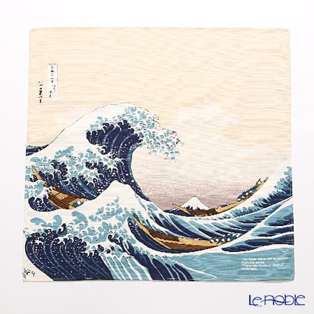 むす美 風呂敷 綿100% 日本製 20720-102 チーフ隅田川 波裏に富士ベージュ 48cm